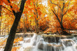 Waterfall Huay Mae Kamin beautiful ,with in autumn of forest