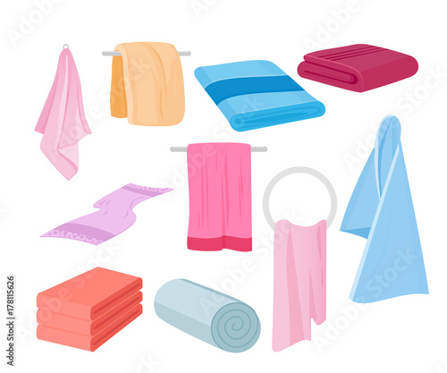Papel de parede Vector illustration of towels vector set