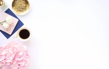 Styled Desk Scene With Gold, Navy And Pink, Feminine Workplace