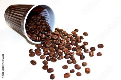 Cadres-photo bureau Café en grains Becher mit Kaffeebohnen