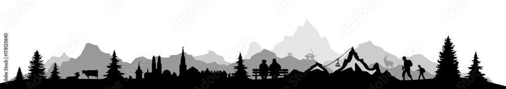 Fototapety, obrazy: Skyline Alpen