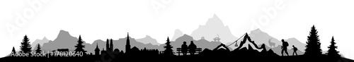 Fotobehang Wit Skyline Alpen