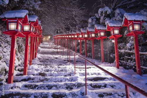 貴船神社 雪 Fototapeta