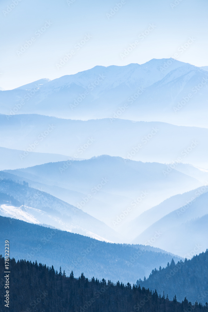 Fototapety, obrazy: Lanscape with blue mountains
