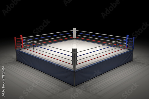 Deurstickers Vechtsport 3d rendering of an empty boxing ring in the dark with its center spotlighted.