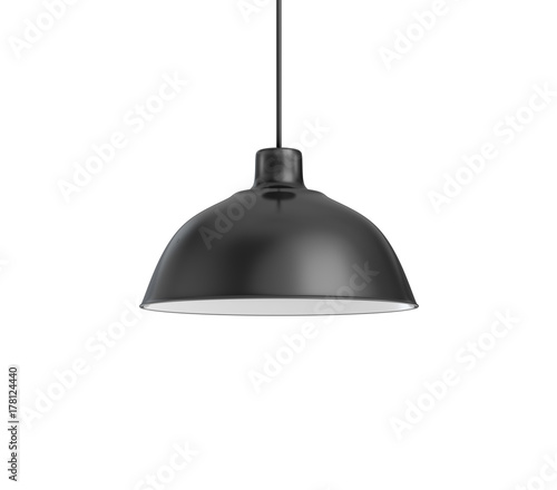 Papel de parede 3d rendering of a single dark lamp fixture with a wide industrial metal design on a white background
