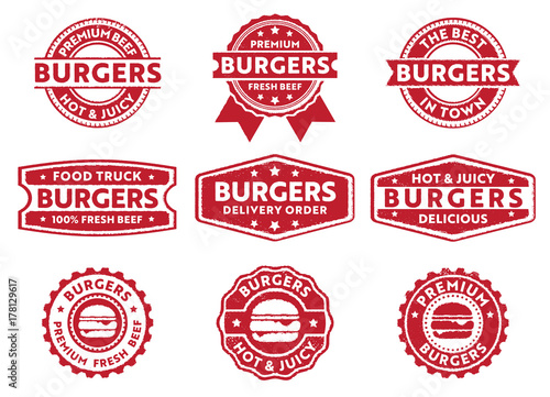 Fotomural  burgers label and stamp