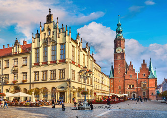 Fototapeta Do biura Town hall on market square in Wroclaw Poland picturesque