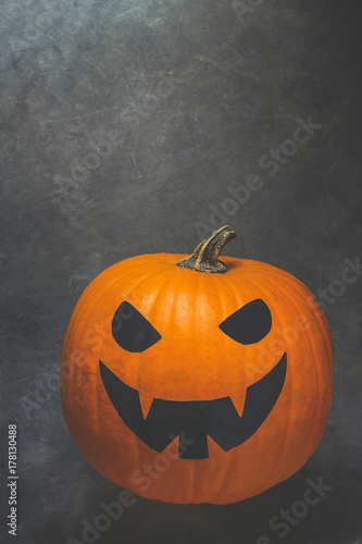 Bright Orange Pumpkin With Jack O Lantern Scary Face Painted In Black Halloween Greeting Card