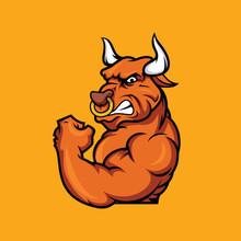 Muscular Bull Is Angry Mascot Cartoon Vector