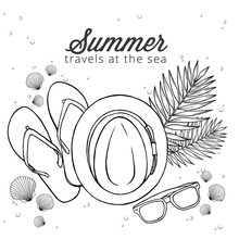 Summer Black Ink Vector Doodle Illustration With Sea Shell, Glasses, Palm Leaf, Slippers And Summer Straw Hat In A Beach Decoration In Top View Perspective, Great As Posters, Banners, Print Or T-shirt