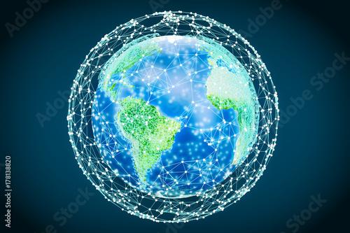 Fototapeta Abstrakcjonistyczna przejrzysta świecąca kuli ziemskiej ziemia, 3D rendering