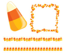 Festive Vector Candy Corn Borders And Frames For Halloween Designs