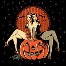 Spooky Halloween Glamour Twins...