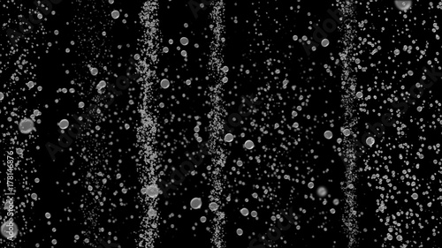 Bubble surges on black background move upwards. 3d illustration Canvas-taulu