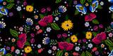 Haft natywny wzór z uproszczonymi kwiatami. Wektor wyszywany tradycyjny kwiatowy wzór do noszenia mody. - 178151202