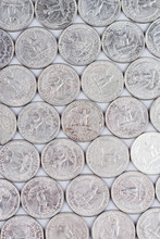 Rows Of America Quarters Coins