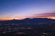 Aerial view of an incredible sunset behind the Italian mountains