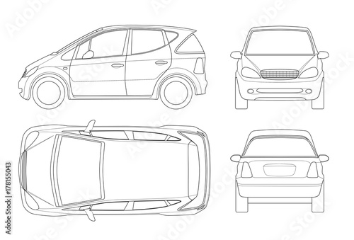 Small Compact Electric Vehicle Or Hybrid Car On Outline Eco