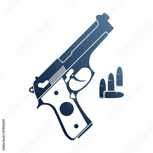 Gun and ammo. Emblem with handgun and bullets. Canvas Print