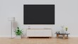 TV in modern empty room white wall background. 3D rendering.