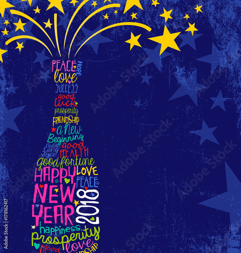 Staande foto Pop Art Happy New Year 2018 design. Abstract champagne bottle with inspiring handwritten words, bursting stars. Blue background with space for text.