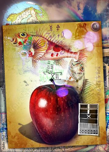 Papiers peints Imagination Mela proibita dell'albero della conoscenza con I king e pesci