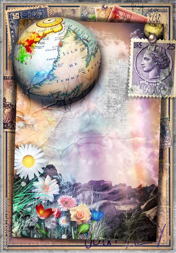 Poster Imagination Paesaggio surreale e fiabesco con francobolli antichi,mappamondo e fiori colorati
