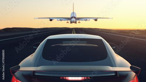 Zdjęcie XXL Samochody zaparkowane na ulicy. Samolot leci up.3d renderowania i ilustracji.