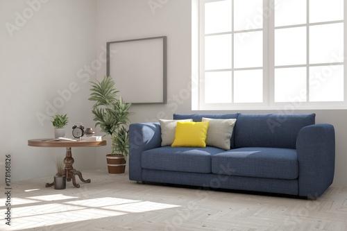 Magnificent Idea Of White Minimalist Room With Blue Sofa Scandinavian Inzonedesignstudio Interior Chair Design Inzonedesignstudiocom