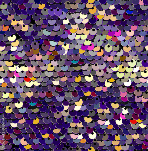 Cotton fabric Sequins  Seamless Pattern. Vector. Without gradient. Purple Background.