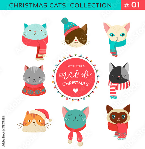 1752710 Merry Christmas greetings with cute cats characters, vector collection.