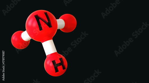 Molecule of ammonia, 3d render red color with copy space Canvas Print