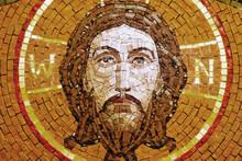 Antique Mosaic Icon Of Jesus Christ (religion, Faith, Death, Resurrection, Eternity Concept)