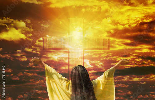 Thank you God, women back or rare view with big crucifix or cross on golden sky Fototapete