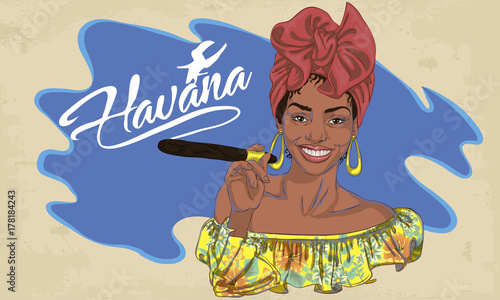 cuban woman face. cartoon vector illustration for music poster Slika na platnu
