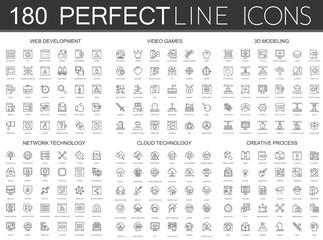 180 modern thin line icons set of web development, video games, 3d modeling, network technology, cloud data technology, creative process.