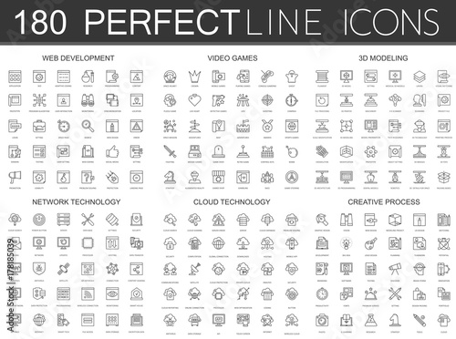 Fotografía  180 modern thin line icons set of web development, video games, 3d modeling, network technology, cloud data technology, creative process