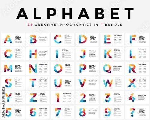 Photo  Vector alphabet infographic, presentation slide template
