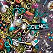 Cartoon cute doodles hand drawn Science frame