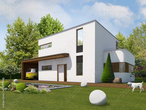Haus Kubus 2 Gerundet Am Tag Mit Holzleisten An Carport Und Anbau