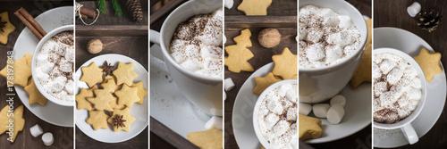 Plakat zima Xmas napojów Cacao z marmaste kolażu