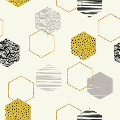 Fototapeta Abstract geometric seamless repeat pattern with hexagons.