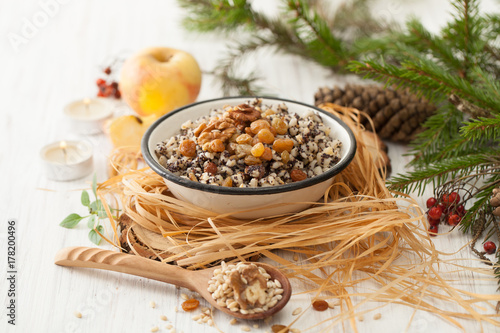 Christmas porridge on the holiday table