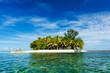 canvas print picture - Tropical Guyam Island with traditional fishing boats