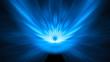 Leinwandbild Motiv Blue glowing asteroid impact background with motion blur 8k
