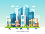 Fototapeta Miasto - Urban landscape with buildings, skyscrapers and city transport. Real estate and construction industry concept. Vector illustration.