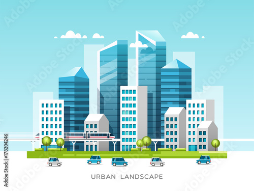 Cadres-photo bureau Cartoon voitures Urban landscape with buildings, skyscrapers and city transport. Real estate and construction industry concept. Vector illustration.