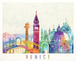 Venice landmarks watercolor poster