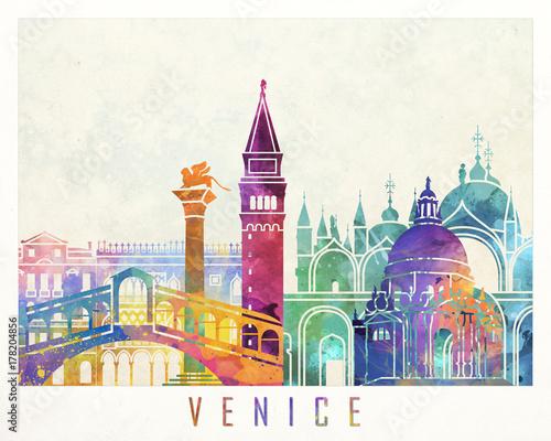 Fotografía  Venice landmarks watercolor poster